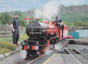 LOT 18: Original painting of River Mite on Dalegarth turntable. Produced to support the Train from Spain appeal.