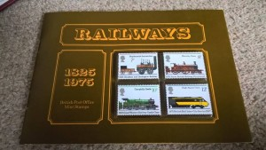 LOT 6: Set of 4 stamps in plastic cases produced for 150th anniversary of railways in presentation booklet. Excellent condition.