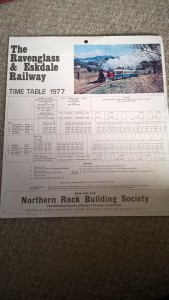 LOT 7: R&ER 1977 card timetable. Good condition.